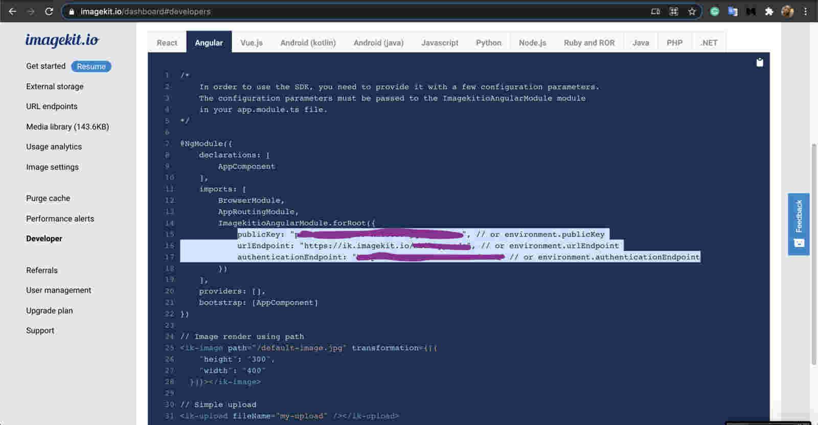 ImageKit Dashboard for developer